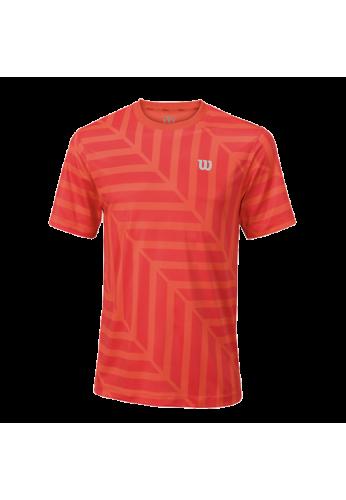 Camiseta Wilson M SU LABYRINTH CREW hot coral/cayenne