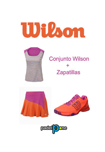 Zapatillas Wilson KAOS CLAY COURT W Fiery Coral/Fiery Red/Rose Violet + conjunto